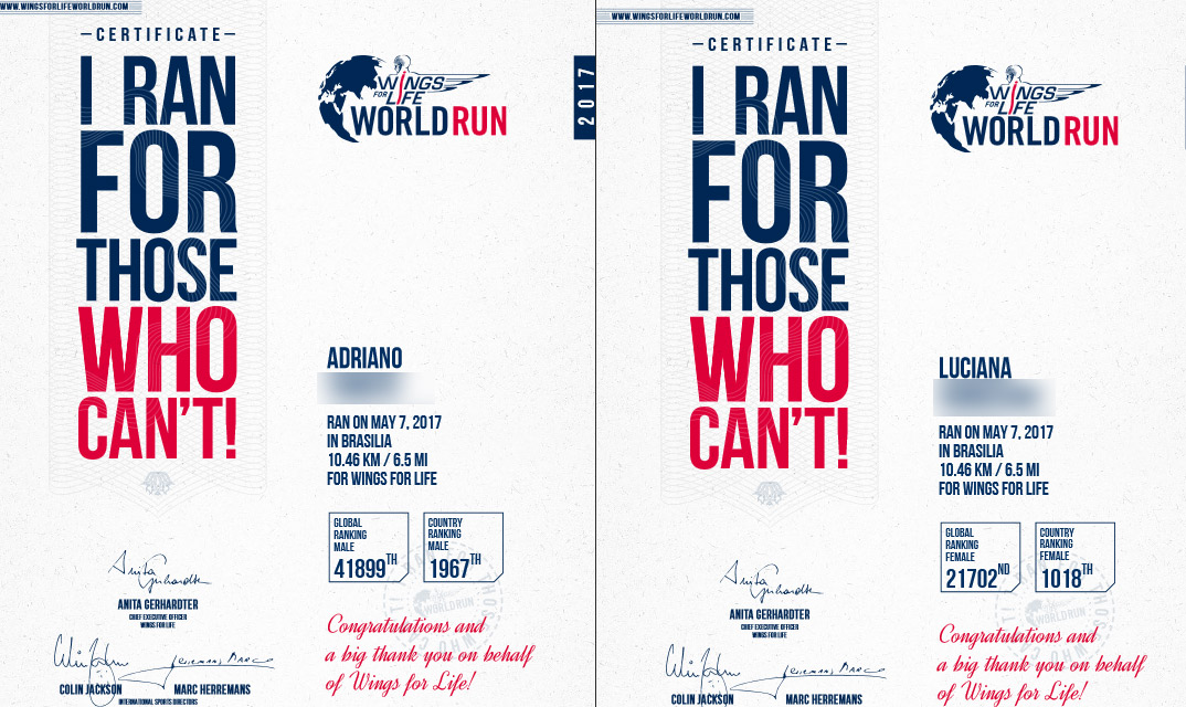 Wings for life world run 2017 certificado